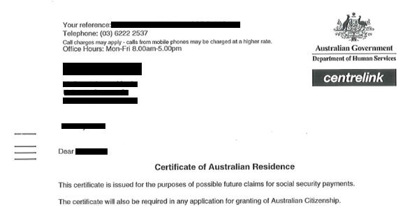 Certificate of Residence