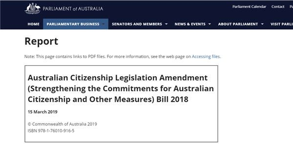 Report into Australian Citizenship Legislation Amendment Bill 2018